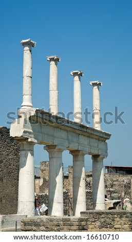 Ruins of Pompey after eruption of a volcano of Vesuvius - stock photo