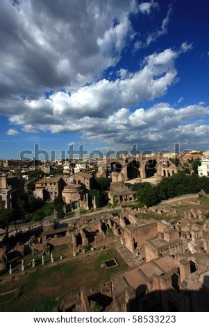 Ruins of Roman forum in summer