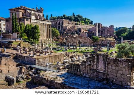 ruins of Roman forum. Rome. Italy.  - stock photo
