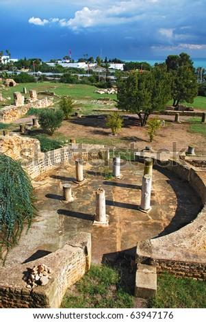 ruins of roman villas in Carthage - stock photo