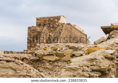 Ruins of Saqqara, an archeological remain in the Saqqara necropolis, Egypt. UNESCO World Heritage - stock photo