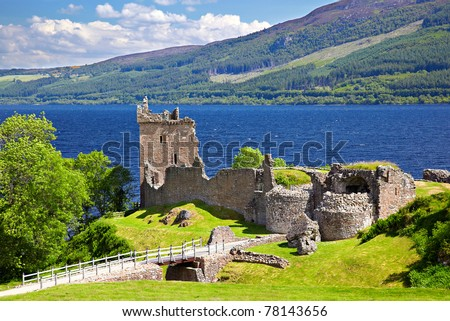 Ruins of Scotland Urquhart Castle near Loch Ness like - stock photo