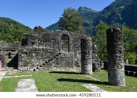 Ruins of Serravalle castle at Semione on Blenio valley on the Swiss alps