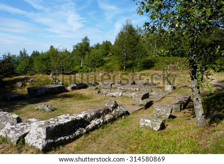 Ruins of settlements of Romans and Gauls -  Col du Donon, France - stock photo