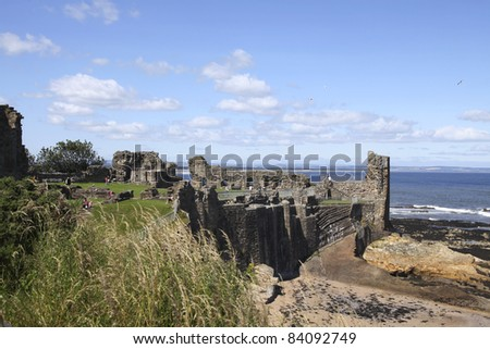 Ruins of St. Andrews ancient castle - stock photo