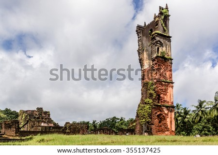 Ruins of St. Augustine complex. In 1835 this complex was abandoned due to expulsion of religious orders from Goa and Portuguese Government ordered its demolition. Old Goa, India.  - stock photo