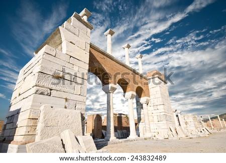 Ruins of st. Johns Basilica at Ayasuluk Hill, Selcuk Ephesus IZMIR, Turkey  - stock photo