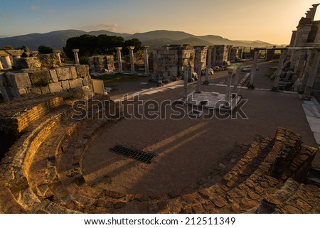 Ruins of st. Johns Basilica with sunset - Selcuk Ephesus