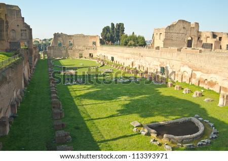 Ruins of Stadium Domitanus at the Palatine Hill in Rome, Italy - stock photo