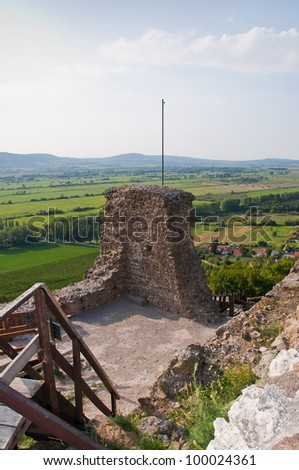 Ruins of Szigliget's castle, near lake Balaton (Hungary) with view on the landscape. - stock photo