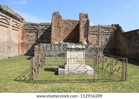 ruins of temple of apollo of Pompeii, unesco world heritage, Italy - stock photo