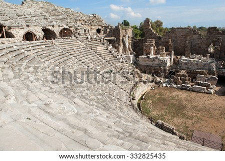Ruins of the ancient amphitheater in Side, ancient monuments  of Roman Empire, Side, Turkey