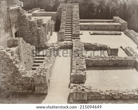 Ruins of the ancient castle of Crete Greece Greek civilization old stone steps - stock photo