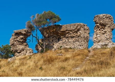 Ruins of the ancient city of Ashkelon, which is one of the oldest cities on the planet and has an age of about 5 thousand years. Israel. - stock photo