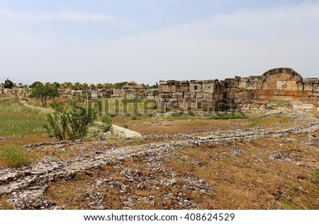 Ruins of the ancient city of Hierapolis at spring time, Turkey - stock photo