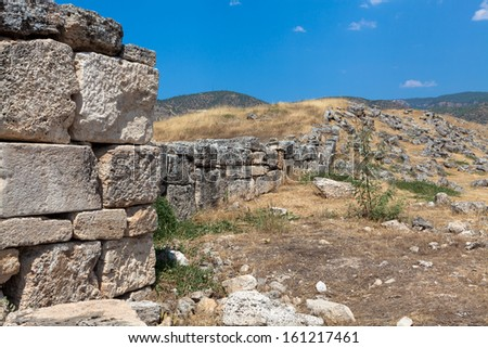 ruins of the ancient city of Hierapolis spring time,Turkey - stock photo