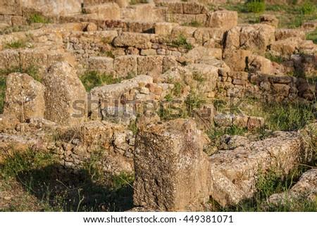 Ruins of the ancient city of Morgantina, Sicily island, Italy - stock photo