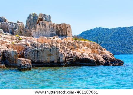 Ruins of the ancient city on the Kekova island, Turkey - stock photo