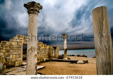 ruins of the ancient Greek city - stock photo