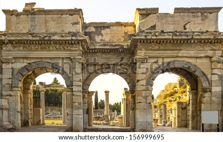 Ruins of the ancient Greek city Ephesus - stock photo