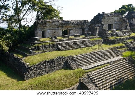 Ruins of the ancient Mayan city of Palenque, in the jungles of Chiapas, Mexico - stock photo
