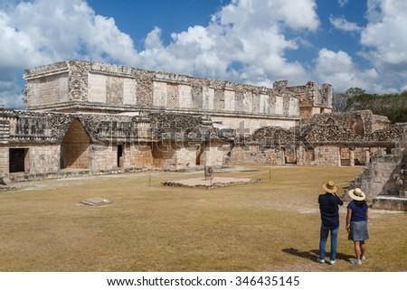 Ruins of the ancient Mayan city of Uxmal, Mexico - stock photo