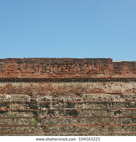 Ruins of the ancient Roman wall in Turin (Torino) Italy - stock photo