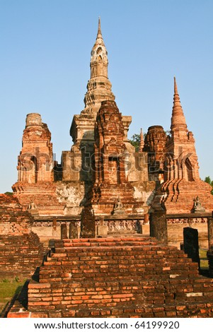 Ruins of the ancient temple in Sukhotai - the old capital of Thailand. Sukhotai historical park in Thailand.