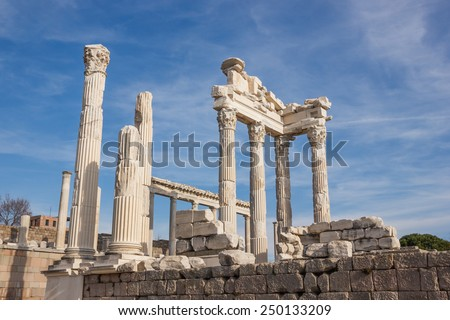 Ruins of the ancient temple of Trajan in Bergama Acropolis, Turkey. Columns and fronton parts - stock photo