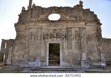 Ruins of the ancient town of Monterano, Rome, Italy. Church and convent of St. Bonaventure designed by Gian Lorenzo Bernini