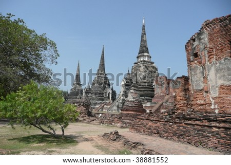 Ruins of the Ayutthaya Kindgom in modern-day Thailand