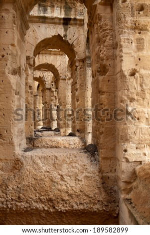 Ruins of the biggest colosseum in Africa - El Djem,Tunisia. UNESCO heritage site
