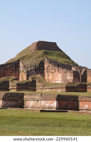 Ruins of the Buddhist Vihara at Paharpur?Bangladesh - stock photo