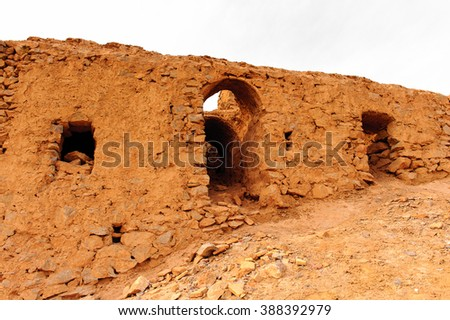 Ruins of the cage of vultures of the Zoroastrian Towers of Silence in Yazd, Iran