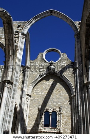 Ruins of the Carmo Monastery, destroyed by an earthquake, in Lisbon, Portugal