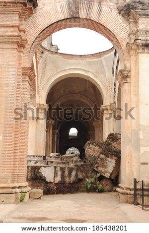 Ruins of the cathedral at Antigua on Guatemala - stock photo