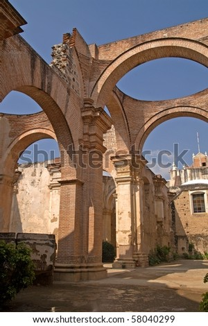 Ruins of the cathedral in Antigua Guatemala. La Antigua Guatemala, UNESCO World Cultural Heritage - stock photo