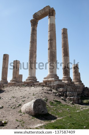 Ruins of the citadel, First Century fort of Amman Jordan, A Middle East ruin