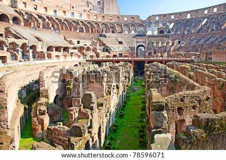 Ruins of the colloseum in Rome, Italy - stock photo