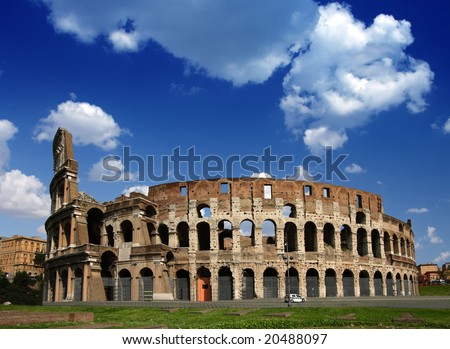 Ruins of the Collosseo of an ancient Roman construction for entertainments. - stock photo