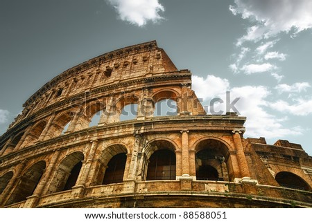 Ruins of the colosseum in Rome - stock photo