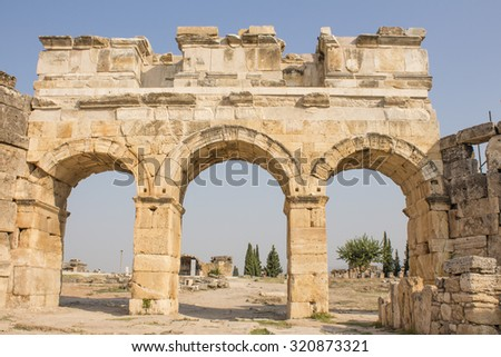Ruins of the columns of Apamea, a treasure city and stud-depot of the Seleucid kings, and was the capital of Apamene. Syria. - stock photo