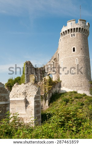 Ruins of the famous castle of Robert the Devil in Normandy, France - stock photo