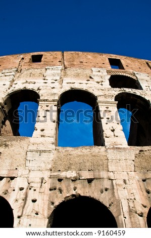 Ruins of the famous colosseum landmark in rome