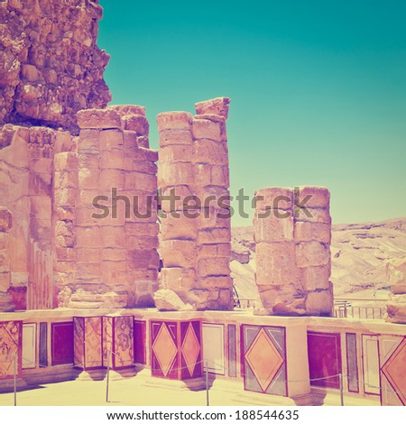 Ruins of the Fortress Masada, Instagram Effect - stock photo