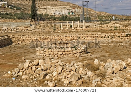 Ruins of the fortress of Herod, the Great, Herodium, Palestine - stock photo