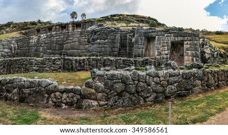 Ruins of  the fortress of Tambomachay in the capital of Incas, Cusco, Peru - stock photo