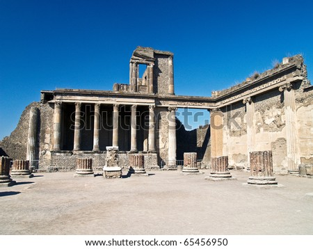Ruins of the forum of pompei, Italy - stock photo