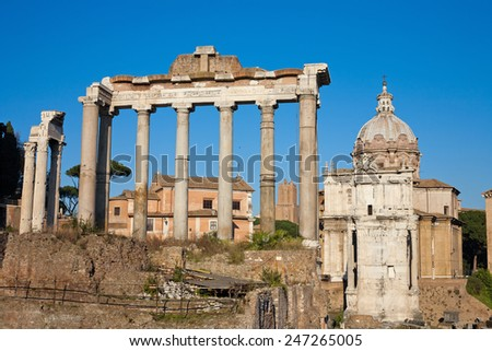 Ruins of the Forum Romanum in Rome, Italy - stock photo