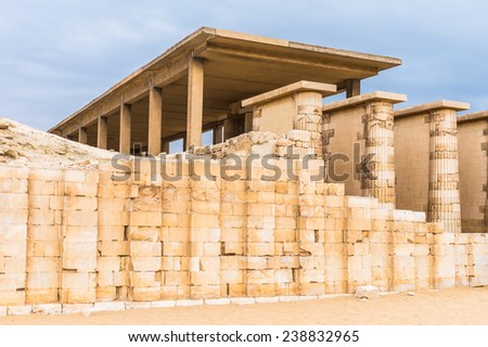 Ruins of the Funerary complex of Djoser, an archeological remain in the Saqqara necropolis, Egypt. UNESCO World Heritage - stock photo